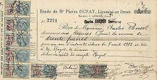 39 ARBOIS ETUDE DE PIERRE DUFAY CHARLES CUENOT RECU TIMBRES FISCAUX 1923