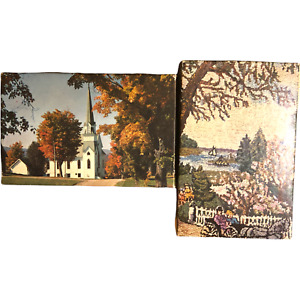 """Lot of 2 Vintage Mini Tuco Puzzles Ride by the River Peaceful Road 5 1/4"""" x 7"""""""