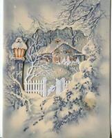 VINTAGE CHRISTMAS WHITE SNOW BLUE HOUSE CHIMNEY SMOKING LANTERN GREETING CARD