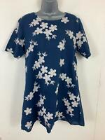 WOMENS APRICOT BLUE/WHITE APPLIQUE PATTERN CREW NECK SHIFT CASUAL DRESS SIZE 14