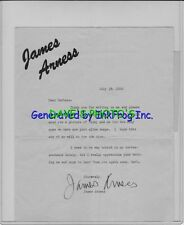 HAND-SIGNED 'JAMES ARNESS' AUTOGRAPH LETTER DATED JULY 1956. GUNSMOKE SALE $399