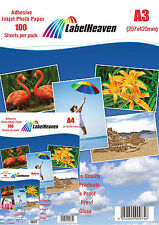 100 Sheets A3 115 gsm of Self adhesive, High Glossy.  Photo Paper by LH