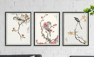 Japanese Bird Art - Prints - Vintage New Home Gift gift for him her ink
