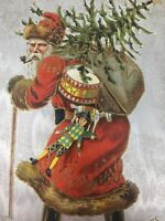 Old World Santa Claus Pipe Walking Stick Toys Tree Christmas Postcard Silver