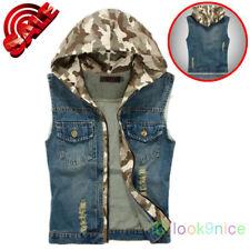 Men's Denim Vest Jacket Coat Waistcoat Sleeveless Camo Hoodie Slim Tops Oversize