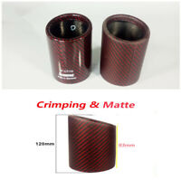 """3"""" Red Car Real Carbon Fiber Red Exhaust Muffler Pipe Cover Tip Decor w/Logo"""