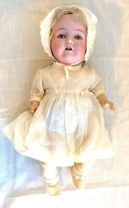 Antique Bisque Head & Composition Body Horsman Doll, Glass Eyes, Teeth - 15-1/2""