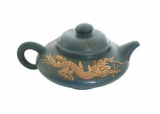 Vintage Yixing Zisha Teapot - Fine Carving/Glaze - Signed - China - 20th Century