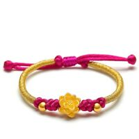 Fine Hot 999 Real 24k Yellow Gold 3D Lotus Flower Purple Cord Knitted Bracelet