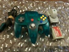 Nintendo 64🎮Original OEM Clear Turqouise/Blue Tight Stick Rumble/Memory Tested