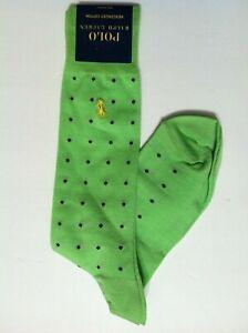 POLO RALPH LAUREN MENS NEW LIME GREEN COTTON BLEND DRESS SOCKS SHOE SIZE:6-12.5