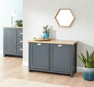 Slate Blue Oak Top Shoe Storage Cabinet 2 Door Cupboard Two Tone Hallway Unit