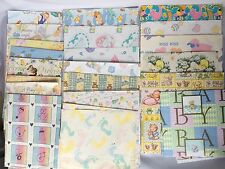 VTG Baby Shower Gift Wrapping Paper Lot Collection Flat Wrap Present Over 1 LB
