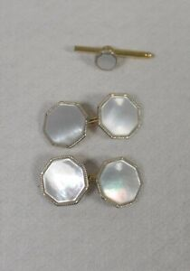 ANTIQUE 1/10 (12K?) GOLD ART DECO MOTHER OF PEARL CUFFLINKS &Tuxedo Stud Button