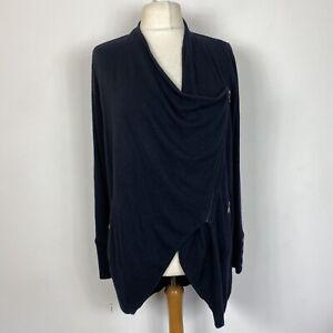 Mint Velvet Black Zip Front Drape Lagenlook Waterfall Cardigan Size 14