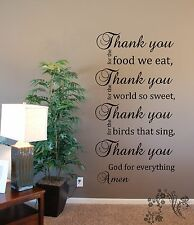 Thank you for the food we eat, Thank you God Vinyl Wall Art Quote Decal Sticker