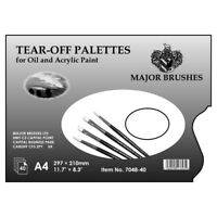 Major Brushes Tear Off Palette 40 Disposable A4 Sheets for Oil Acrylic Paint