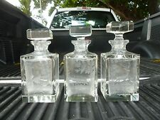 3 BEST BOHEMIAN ENGRAVED LEAD CRYSTAL LIQUOR DECANTERS W BLACK FOREST SCENES