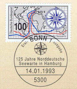 Frg 1993: Seewarte Hamburg No. 1647 With Bonner First Day Postmark! 1A! 1905