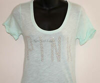 NWT VICTORIA'S SECRET PINK SEQUIN T-SHIRT Rhinestone Bling Green Top Studded NEW
