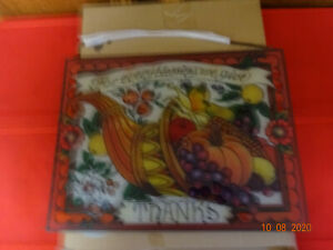 JOAN BAKER STAINED GLASS SUNCATCHER FOR EVERY BLESSING WE GIVE THANKS NEW IN BOX