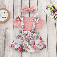 US 3Pcs Newborn Baby Girls Kid Tops Romper Floral Skirt Outfits Set Clothes
