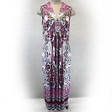 NEW NWT One World Woman Plus Size Pink Paisley Lace Yoke Liquid Maxi Dress 2X