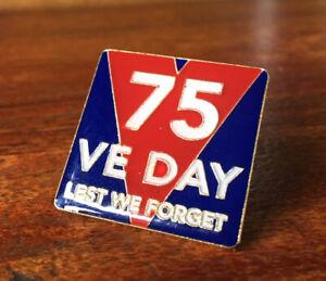 VE Day 75 Year 2020   Lest We Forget Lapel Enamel Pin Badge   10% British Legion