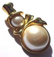 broche bijou couleur or bonhomme de neige hiver cabochon perle blanche 1731
