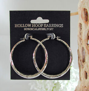 "Hoop Earrings Surgical Post 1-3/4"" x 1-5/8"" Round High Quality"