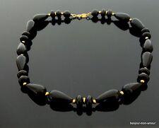1970s TRIFARI sign. schwarze Plastik Tropfen Perlen Kette Collana Halskette