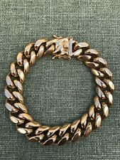 """14mm Mens Cuban Miami Link Bracelet 18k Gold Plated Stainless Steel 8.5"""" Long"""