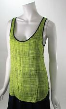 French Connection Texture Check Sleeveless Blouse Bright Yellow Sz 6 NWT 72AAQ