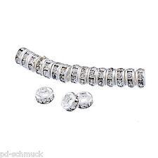 25 Versilbert Klar Acryl Strass Rondelle Spacer Metall Perlen Beads 4x2mm