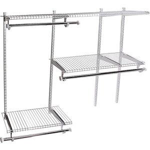 Rubbermaid 2060339 Custom 3' to 6' Wide Closet Configuration Storage Kit, White