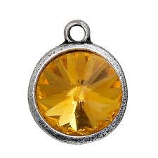 2 Golden Citrine Rivoli Charms, Crystal Glass in Silver Bezel, 21x17mm, chs2689