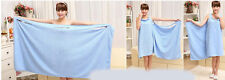 UK Womens Ladies Gown Wrap Drying Towel Wash Skirt Bath Robe Dressing Light Blue