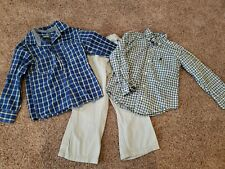 Toddler Boy Outfit Size 4, Dress Clothes,  Button Up Collared Shirt, Khaki pants