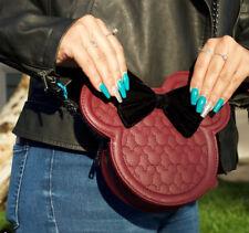 $ LOUNGEFLY Disney Crossbody Bag Purse MICKEY MINNIE MOUSE Chain Black Burgundy
