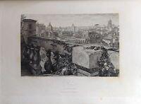 ITALIA. ROME, ROMA, GRABADO ORIGINAL DE HAKEWILL, 1820