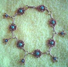 """STERLING SILVER BRACELET WITH TURQUOISE  7 3/4"""" LONG"""