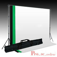 Photo Studio Muslin Backdrop Background Stand Kit (White Black Green) Rod Pocket