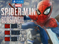 Marvel Spider-Man PS4 Mod Boosting MAX level 50 999 All Tokens 99 Skill Points