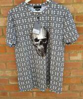 Alexander Mcqueen Men's T-shirt - 3D skull glass effect - new/tags/size L large