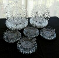 Indiana Glass Clear Pretzel with Fruit Center Plates, Cups, Saucers 16 piece Set