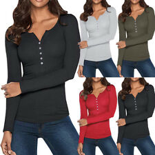 Womens V Neck Henley Shirts Long Sleeve Blouse Button Down Basic Tops Tees