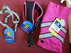 Set of 3. 2/Top Paw Adjustable Dog Harness X-Small  Plus 1 X-Small pink jacket.