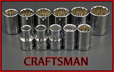 CRAFTSMAN HAND TOOLS 11pc LOT 1/2 Dr SAE 12pt ratchet wrench socket set