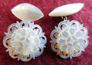 Unique Antique Carved Pearl Shell Cufflinks 1890s Cuff Links