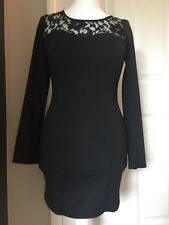 Topshop Bodycon & Lace Dress, Black, Size 12